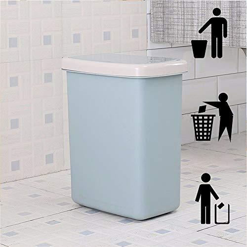 DelongKe Push Type afvalbak slanke vuilnisbak voor keuken toilet Clamshell Cover Pop Up afvalbak blauw