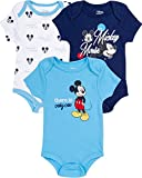 Disney Baby Boys Newborn 3 -Pack Bodysuits - Mickey Mouse and Lion King, Only One Navy Mickey, Size 0-3 Months