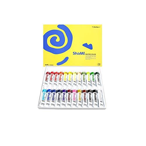 Shinhan Shami Watercolor Paint Set 24 Colors Set 10ml Tube for begineer, Student