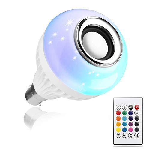 NAVZA LED Bulb with Bluetooth Speaker Music Light Bulb B22 LED White + RGB Light Ball Bulb Colorful...