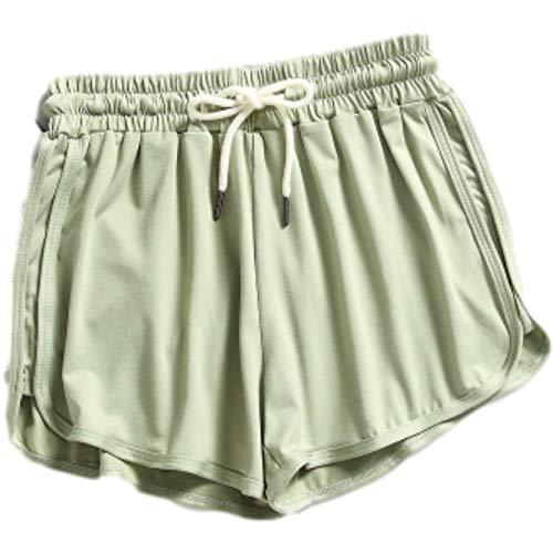 Pantalones Cortos para Mujer Primavera y Verano Moda Casual Color Caramelo Pantalones Cortos Casuales para Todo fósforo Pantalones Cortos cómodos con cordón elástico en la Cintura M