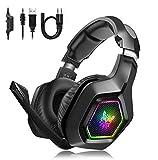 Gaming Headset PS4 PC Xbox One Kopfhörer mit Mikrofon Surro&-So&, Bequeme Ohrenschützer mit LED-Beleuchtung Geeignet für 3,5-mm-Buchse