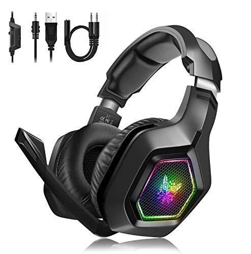Gaming Headset PS4 PC Xbox One Kopfhörer mit Mikrofon Surround-Sound, bequeme Ohrenschützer mit...