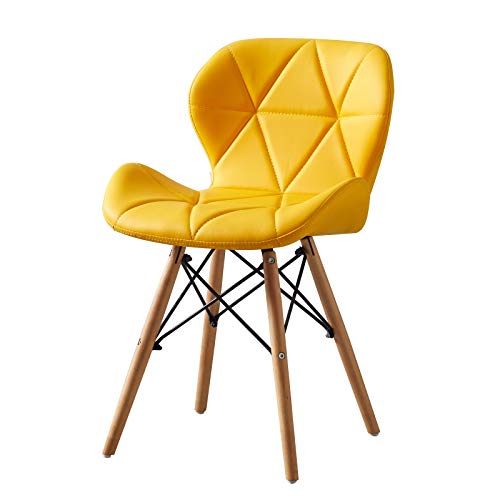 MoF Dining Wooden Chairs Wood Legs & Comfortable Padded Seat Home Office Design Chair Dining chair (Bright Yellow, 1)