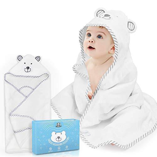 Loori Baby Kapuzenbadetuch 90 x 90 CM 100% Bambusfaser Ultra-Weiches und Dick Hypoallergenes Babyhandtuch mit...
