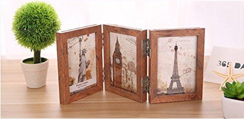 dngdom 3strati di legno cornice tripla decorazione cornice portafoto in legno pieghevole multiuso cornice portafoto