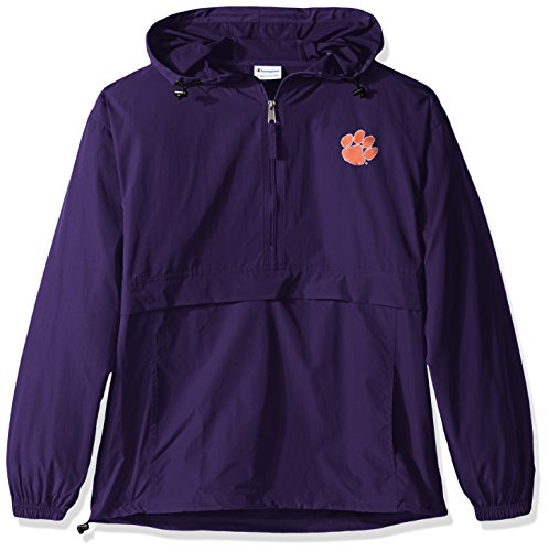 Champion NCAA Mens Half Zip Front Pocket Packable Jacket Clemson Tigers Large
