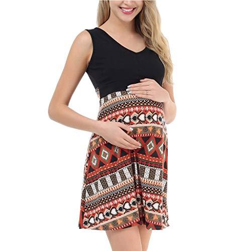Frauen Umstandskleid Schwangerschaft V-ausschnitt Ärmelloses Ethnisch Sommerkleid Elegante Schwangerschaftskleid, Damen Lang Kleid Umstandsmode Strand Dress Umstands Gerafften Stillkleid Skaterkleid