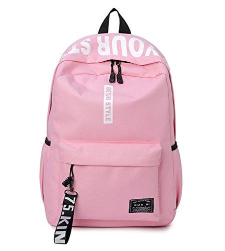 DNFC Canvas Schulrucksack Mädchen Jungen Rucksack Fashion Schulranzen Teenager Schultaschen Freizeitrucksack Mode Kinderrucksack Daypack Backpack (Pink)