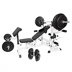 GORILLA SPORTS® universal weight bench with dumbbell set plastic 100 kg white - barbell, curl bar, dumbbells, weight plates and star locks