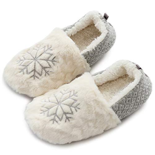 AONEGOLD Hausschuhe Damen Plüsch Ballerina Socken rutschfeste Slipper Winter Home Warme Fuzzy Strick Pantoffeln Kuschel Weiche Hausschlappen(Grau,Größe 38-39)