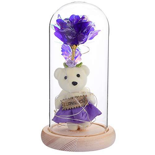 Amosfun Rosa de aluminio con luz de noche preservada en cúpula de cristal con luces LED eternas de la rosa de la lámpara de regalo para parejas, Día de San Valentín, aniversario de fiesta