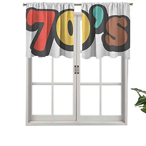 Hiiiman Cenefas de cortina para ventana con bolsillo para barra, diseño de los setenta a rayas, de colores suaves, diseño de discoteca, juego de 2, 137 x 60 cm para ventana de cocina