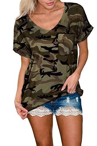 Smile Fish Women Camouflage Print V-Neck Casual Plain Lounge T-Shirt Basic Short Sleeve Tops Green,S