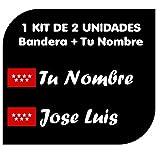 Pegatina Vinilo Bandera Madrid + tu Nombre - Bici, Casco, Pala De Padel, Tablas Skate, Coche, Moto, etc. Kit de Dos Vinilos (Paq Fuentes 2)