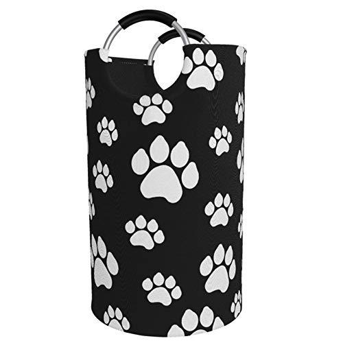 Cesto plegable de gran tamaño para la colada, cubo de perrito con patas de perrito negro grande para ropa sucia, cesta de almacenamiento para colección de juguetes, tela Oxford con diseño elegante