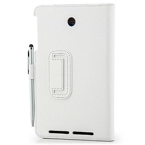 Saxonia Asus MeMo Pad 8 Hülle Case Tablet Tasche Schutzhülle Cover Premium Qualität mit Standfunktion + Touch Stift (Pen) Weiß