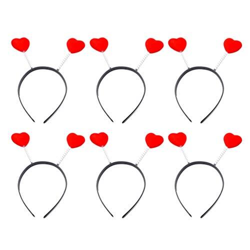 Amosfun 6 Stück Herz Stirnband Urlaub Stirnband Kostüm für Kinder Erwachsene Neujahr Valentinstag Weihnachten Party Kostüm Zubehör