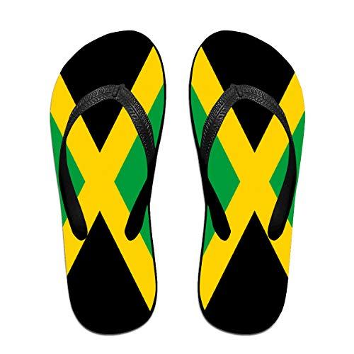 Iop 90p Jamaikanische Flagge Flip Flops Hausschuhe Strand Sandalen Pool Schuhe, Schwarz - Schwarz - Größe: Medium