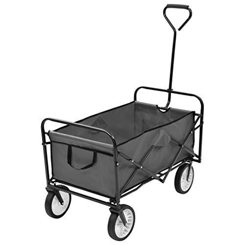 GOTOTOP - Carrito de jardín plegable con mango acolchado y ruedas delanteras giratorias de 360 °, carga máxima 75 kg, 92 x 52 x 118 cm, color gris