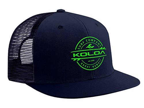 Koloa Surf(tm) Thruster Logo Mesh Back Trucker Hat in Navy-Green Logo