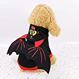 WEKON Disfraces para Perro, Ropa de Perro Halloween, Disfraz de Mascota Halloween, Ropa de Perro Talla XL para Perro de Peso 4-6 Kg Longitud de Espalda 35cm Diseño con Alas de Murciélago