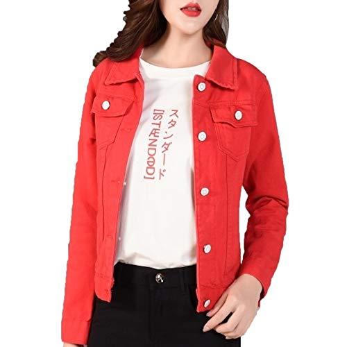Elonglin Damen Jeansjacke Kurzjacke Denim Jacket Slim Fit Übergangsjacke rot Brust 36 inch(Asie XXL)