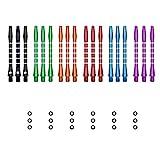 kwmobile Dart Shafts Set mit Gummi Ring - aus Aluminium - 2ba Gewinde - 48mm lang - Dartpfeil-Schäfte Dartschäfte - versch. Farben und Anzahl