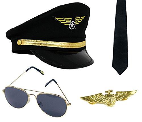 Accessoires de pilote pour adulte avec une casquette noir orné d'un badge jaune sur le devant + Un badge en métal couleur or + une cravate noir + une paire de lunettes style aviateur.