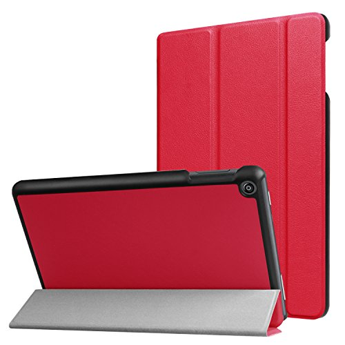 Schutzhülle für Amazon Fire HD 8 (7. & 8. Generation - 2017 & 2018) 8 Zoll Tablet Hülle Flip Hülle mit Auto Sleep/Wake Rot