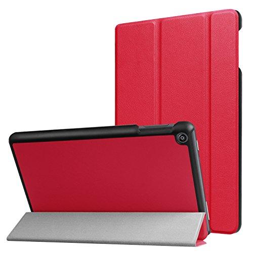 Lobwerk Schutzhülle für Amazon Fire HD 8 (7. & 8. Generation - 2017 & 2018) 8 Zoll Tablet Hülle Flip Hülle mit Auto Sleep/Wake Rot