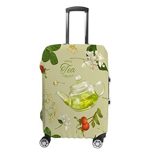 スーツケースカバー トラベルケース 荷物カバー 弾性素材 傷を防ぐ ほこりや汚れを防ぐ 個性 出張 男性と女性 ハーバイティーコレクションティーポットフラワーハーブグリーン M