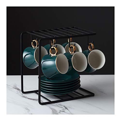Tazas de Espresso Set de platillo de la taza de cerámica Conjunto de taza de té de porcelana Conjunto de platillos de taza de café 7.4 oz Taza de té de China con soporte de exhibición, conjunto de 6 T