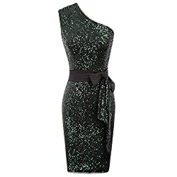 Blackish Green Sequins 1-Shoulder Hips-Wrapped Removable Ribbon Dress