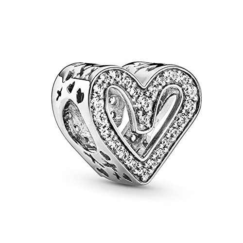 Annmors Sparkling Freehand Heart Charms para pulseras Pandora con Zirconia Cúbica encajan en la Cadena Europea de Serpiente S925 de Plata de Ley Regalos de Joyería para Mujeres Chicas Cumpleaños