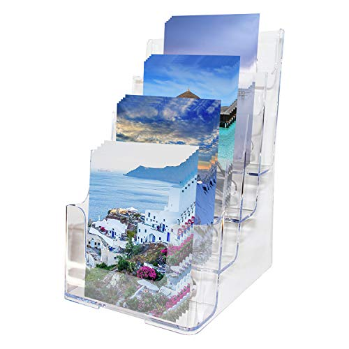 Soporte para Documentos Acrílico Transparente con Múltiples Niveles (4 niveles, A5) - Exhibidor para Folletos (16.5 x 16 x 26cm) de Sobremesa o de Pared - 2 Agujeros para Montar en la Pared