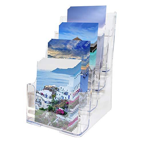 Multi-niveau Houder van Acrylliteratuur (4 x A5-Zakken) - Brouchers Houder (16,5 x 16 x 26 cm) Poot voor Wand of Bureaublad - Doorzichtige Displayhouder voor Flyers, Folder en Pamflet - 2 Gaten voor Wandmontage