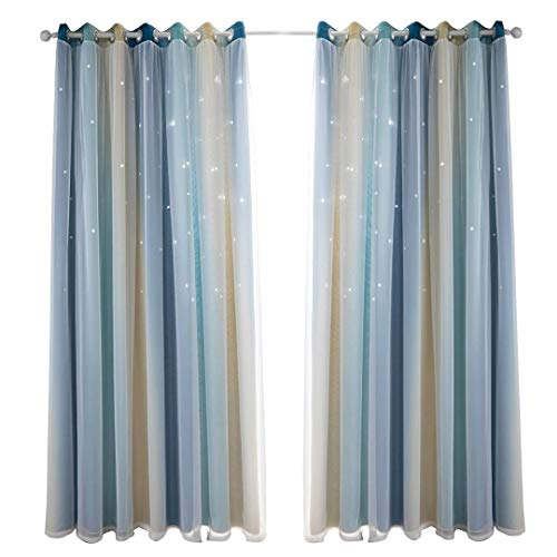 Neecan Room Darkening Blackout Curtains with Grommets Kids Lace Drapes Star Double Layer Window Panels with Tie Backs Bedroom Living Room.1 Piece. Blue 52Wx63L