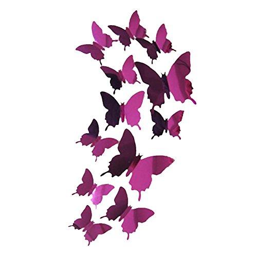 Strung 3D Wandaufkleber Aufkleber Schmetterlinge 3D Spiegel Wandkunst Home Dekore Wandsticker Geschenk Wandtattoo Abziehbilder mit Klebepunkten Kinder Baby Schlafzimmer