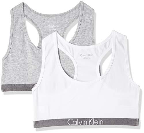 Calvin Klein Mädchen 2 PACK BRALETTE Bustier, Mehrfarbig (1 Grey Heather / 1 White 033), 164 (Herstellergröße: 14-16)