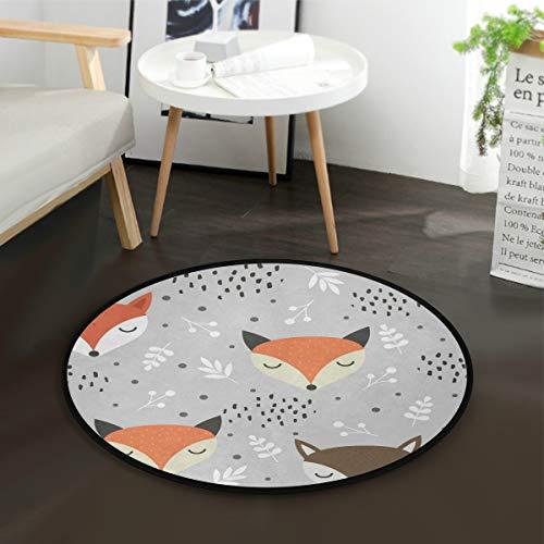 Mnsruu Teppich mit Cartoon-Motiv, Fuchs, Wolf, Wald, Punkte, rund, für Wohnzimmer, Schlafzimmer, Durchmesser: 92 cm