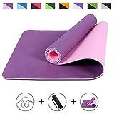 ROMIX Tapis de Yoga, TPE Épais 6MM Double Face avec Sac de Transport et Bandoulière, Tapis d'exercice Antidérapant Écologique pour Hommes, Femmes, Méditation Pilates Home Gym Stretching - Purple
