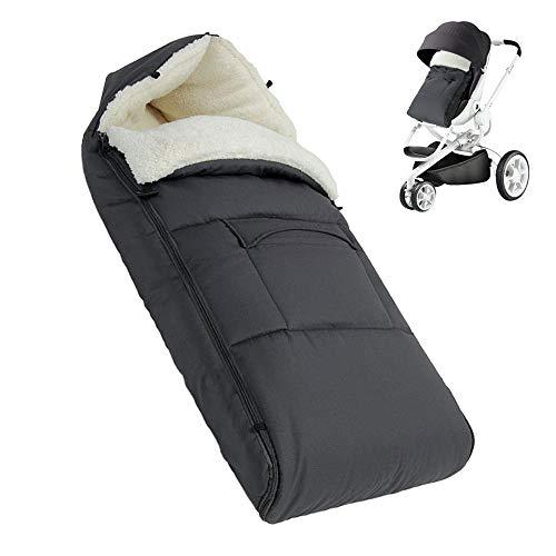 BeebeeRun Baby-Fußsack, kuscheliger Fußsack mit Fleece gefüttert, kuschelige Zehen mit Kapuze für Kinderwagen, Kinderwagen, für Babys unter 36 Monaten (grau)