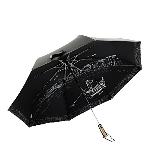 JAYLONG Travel Umbrella 8 Ribs Beauty Venice Construcción de acero inoxidable robusta y resistente para secado rápido Paraguas impermeable de secado rápido para mujeres, hombres, niños y niños