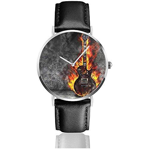 Die brennende Gitarre im Alten Raum Neue Herren Retro Black PU Lederband Armbanduhren