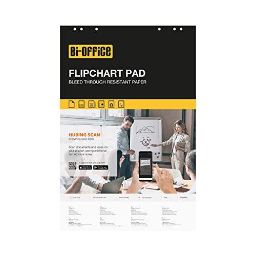 Bi-Office Bloc de papel para Pizarra Rotafolios, Euro, con perforación, 70 g/m², Blanco, 20 Hojas por Bloc, Paquete de 5 Bloques