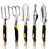 RONGRONG 5 Piece <span class='highlight'>Garden</span>ing <span class='highlight'>Tools</span> Set Including Trowel, Transplanted, Cultivator, Weedier, Weeding Fork, <span class='highlight'>Garden</span> <span class='highlight'>Tools</span> with Heavy Duty Cast-Aluminium Heads & Ergonomic <span class='highlight'>Hand</span>les