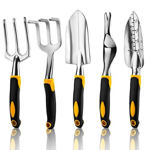 5 Piece Gardening Tools Set Including Trowel, Transplanted, Cultivator,...