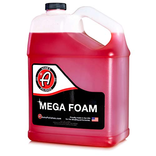 Adam's Mega Foam Shampoo Gallon - pH Neutral Wash Soap Designed For Maximum Foam Suds In Your Bucket, Foam Cannon or Gun, Sponge, Mitt, Chamois - Won't Strip Or Remove Wax Sealant or Ceramic Coating