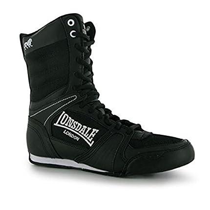 Botas de boxeo para mujer Lonsdale, calzado deportivo de cordones de corte medio, color Negro, talla 3 UK